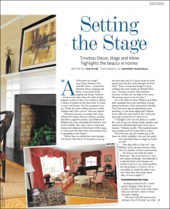 """Setting the Stage - Timeless Decor, and More highlights the beauty in homes"" - Published by 201 Magazine, NJ"