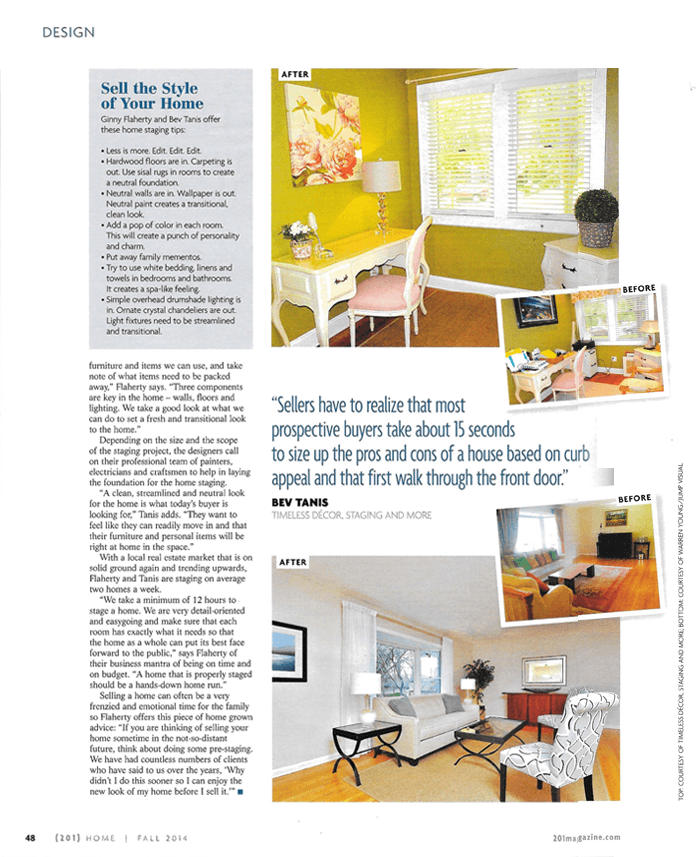 "Page 3 - ""Setting the Stage - Timeless Décor, and More highlights the beauty in homes"" - published by (201) HOME Magazine, NJ"