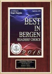 Bergen Magazine - Best In Home & Personal Services 2018 – Timeless Décor, Ridgewood NJ.