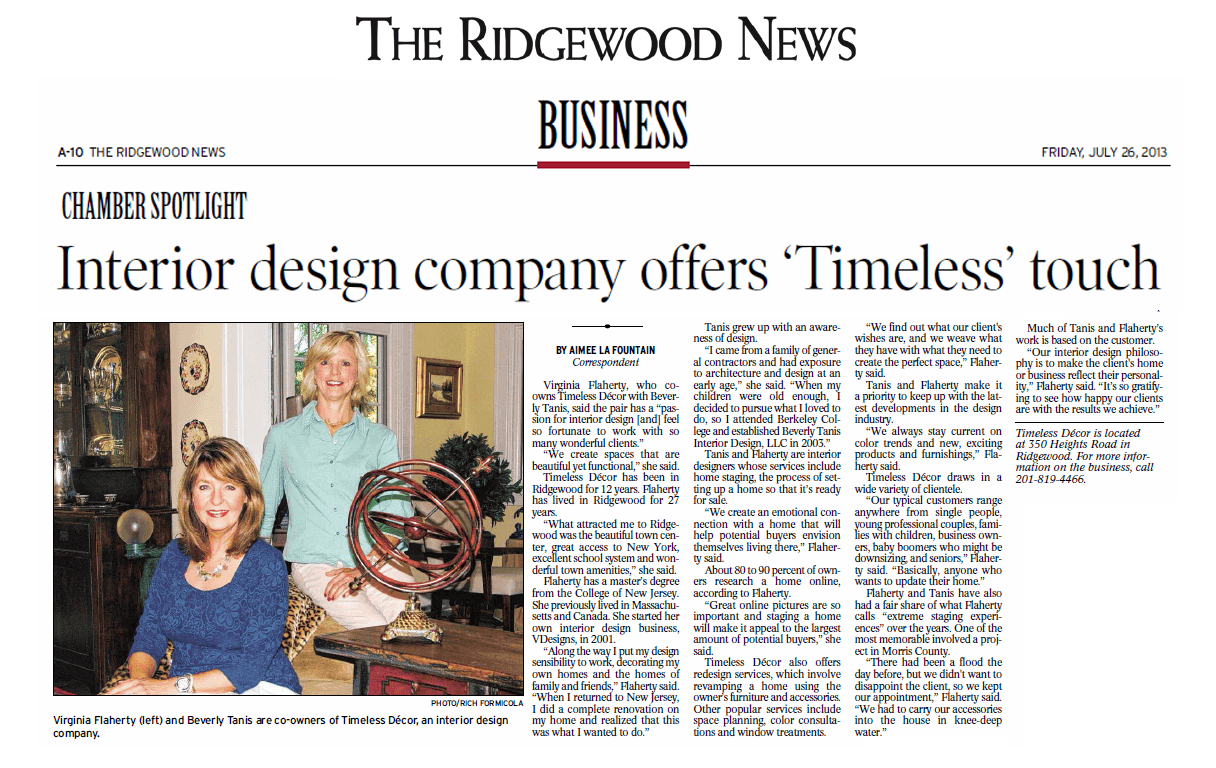 Published by The Ridgewood News, Chamber Spotlight section:  Interior design company offers 'Timeless' touch